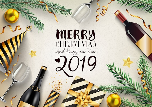 Marry christmas and happy new year 2019 background