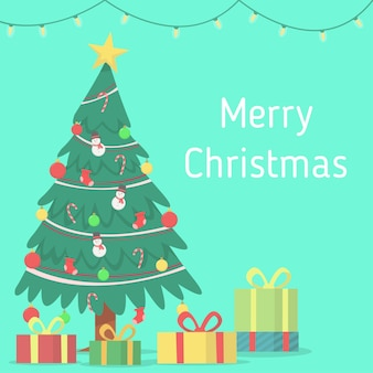 Marry cristmas with hanging lamp , christmas tree and gift box background
