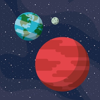 Mars and earth in the space