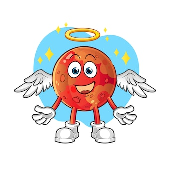Mars angel with wings . cartoon character