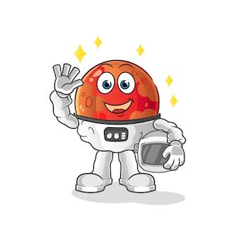 火星の宇宙飛行士がイラストを振って