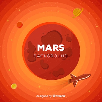 Mars background with spacecraft