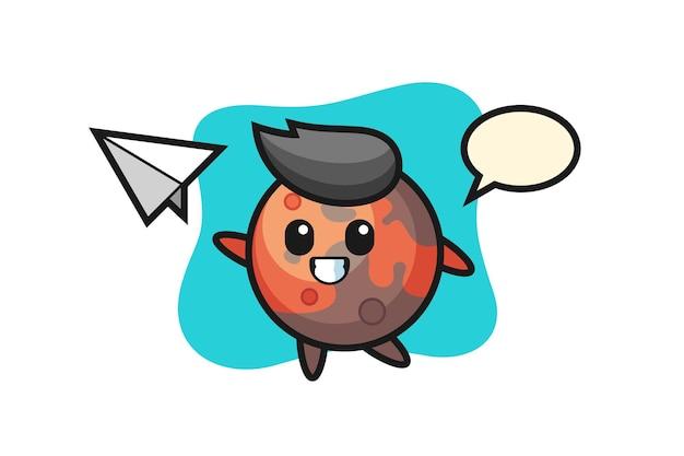 종이 비행기를 던지는 화성 만화 캐릭터, 티셔츠, 스티커, 로고 요소를 위한 귀여운 스타일 디자인