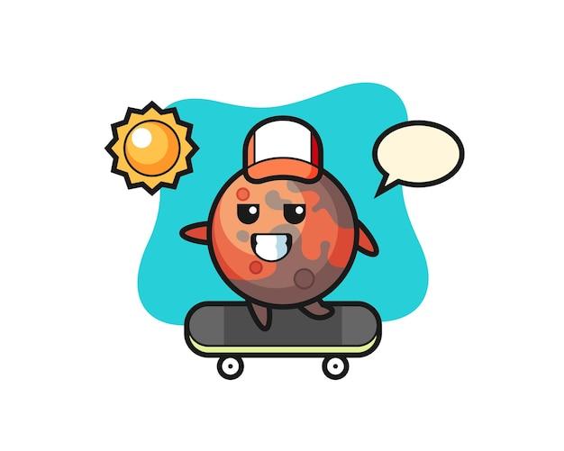화성 캐릭터 그림은 스케이트보드를 타고, 티셔츠, 스티커, 로고 요소를 위한 귀여운 스타일 디자인