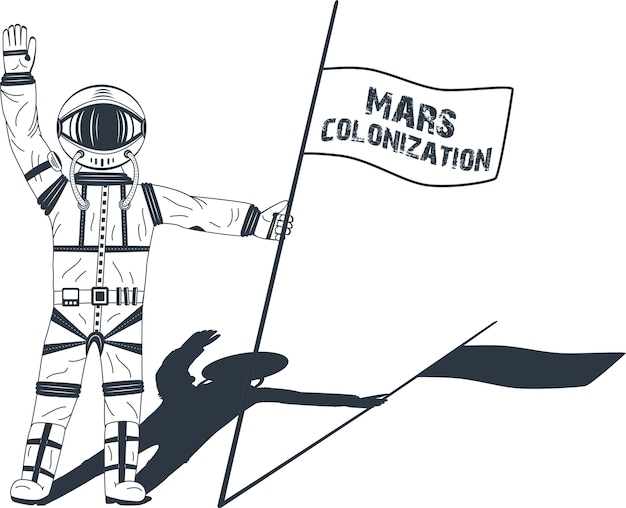 Колонизация марса. астронавт на планете. цветной плакат, иллюстрация