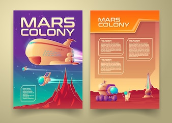 Mars colonization banner infographics template set.