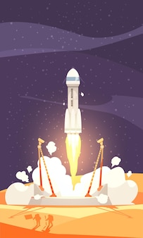 Mars colonization composition with rocket launch, flat illustration