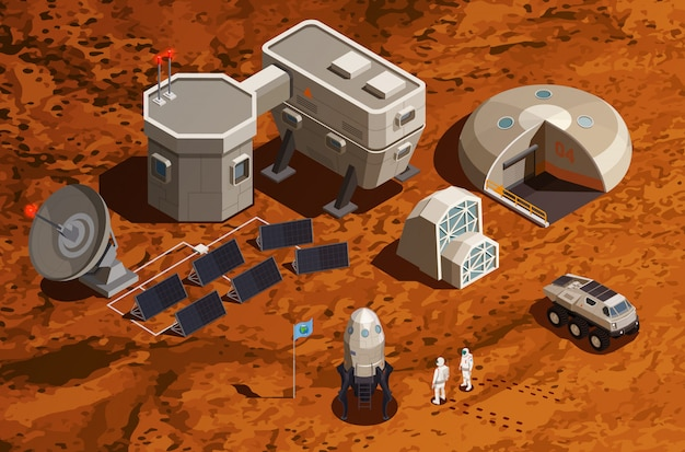 Mars colonization isometric background with equipment for scientific research and communications space ship and astronauts