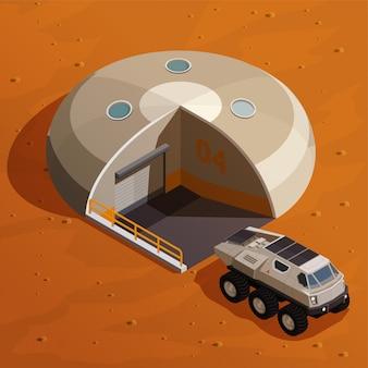 Изометрическая концепция колонизации марса с исследователем марсохода возле базовой станции колонии на марсианском ландшафте