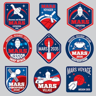 Mars colonization retro space logos and labels set