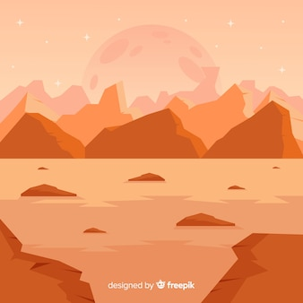 Mars desertic landscape background