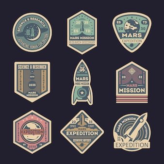 Mars expedition isolated badge set
