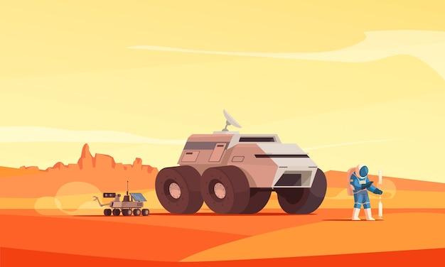 Марс разведка колонизации пейзаж плоская иллюстрация