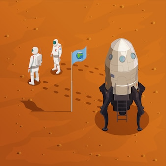 Mars exploration concept with two astronauts in spacesuit walking on surface of red planet