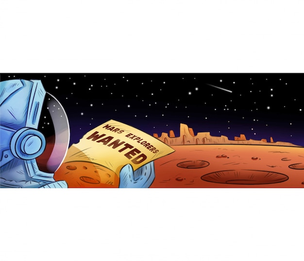Mars explorers wanted hand drawn cartoon banner