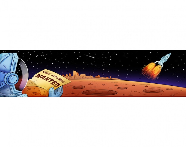 Mars explorers wanted hand drawn comic style cartoon banner.