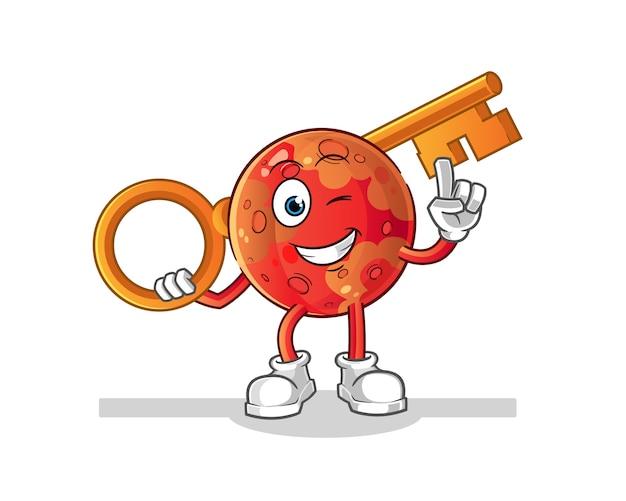 Mars holding a key illustration.