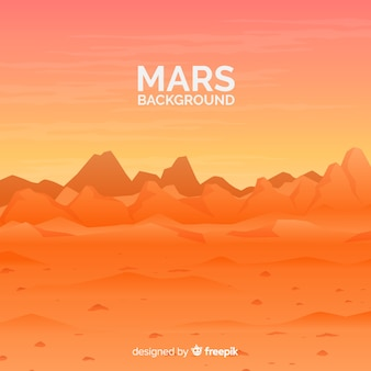 Mars landscape background with flat design