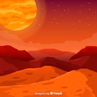 평면 디자인으로 화성 풍경 배경