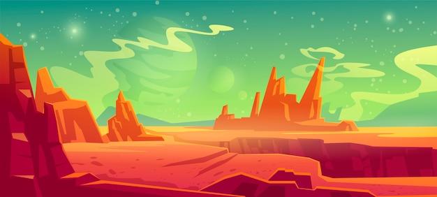 화성 풍경, 붉은 외계 행성 배경, 산, 바위, 깊은 갈라진 틈과 별이있는 사막 표면이 녹색 하늘에 빛납니다. 화성 외계 컴퓨터 게임 배경, 만화 그림