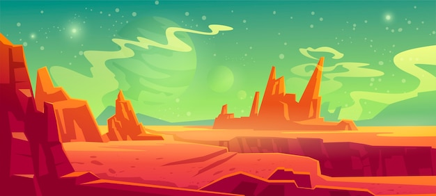 Mars landscape, red alien planet background, desert surface with mountains, rocks, deep cleft and stars shine on green sky. martian extraterrestrial computer game backdrop, cartoon illustration