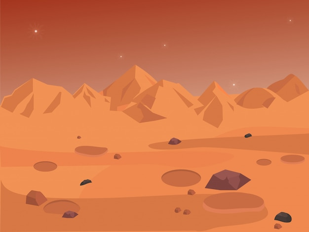 Mars landscape, space background seamless