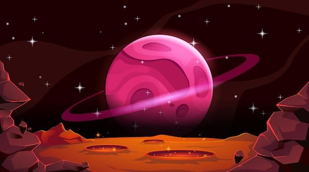 구덩이와 분화구와 우주 빈 붉은 사막에 외계 행성과 화성 풍경