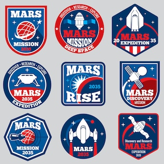 Mars mission space emblems. astronaut travel badges