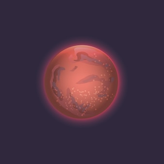 Mars planet in deep space icon