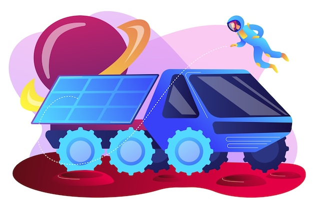 Mars rover examining territory and doing scientific research and astronaut. mars rover, new planet exploration, revolution technology concept. bright vibrant violet  isolated illustration