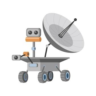 カメラとアンテナのイラストと火星探査車