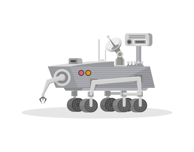 Mars rover with hand manipulator icon