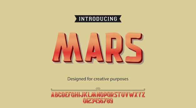 Mars typeface. font type with alphabet and numbers