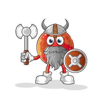 Mars viking with an ax illustration. character