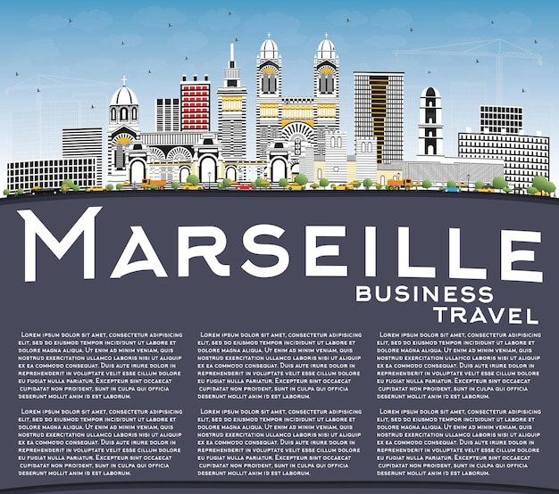 Marseille france city skyline with gray buildings, blue sky and copy space. vector illustration. business travel and tourism concept with historic architecture. marseille cityscape with landmarks.
