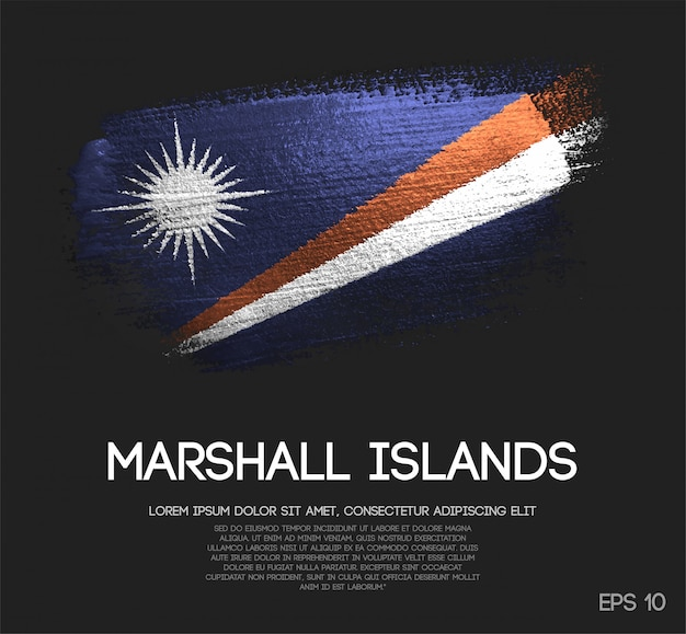 Marshall islands flag made of glitter sparkle brush paint