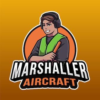 오렌지에 고립 된 마샬 러 항공기 로고 템플릿