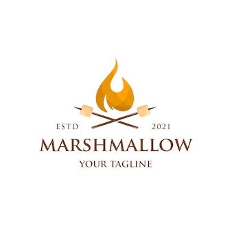 マシュマロ焚き火のロゴのテンプレート