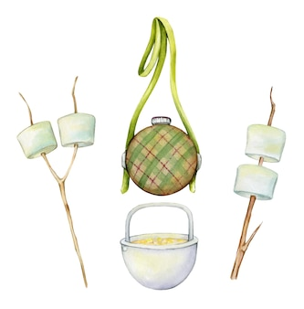 Marshmallow, a canteen, for water, a camping pot. watercolor set, elements, for a picnic