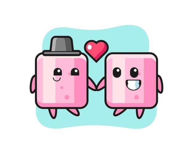 Зефир мультипликационный персонаж пара с жестом влюбленности, милый стиль дизайна для футболки, наклейки, элемента логотипа