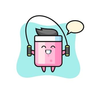 Мультяшный персонаж зефира со скакалкой, милый стильный дизайн для футболки, стикер, элемент логотипа