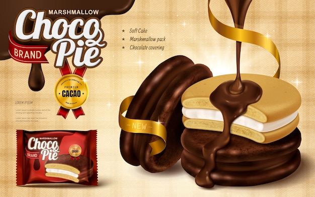 Marshmallow chocolate pie ad, premium chocolate sauce dripped from top and coverg soft cake