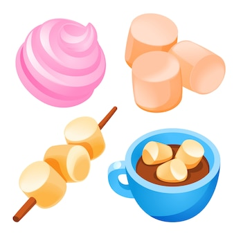 Marshmallow icons set, cartoon style