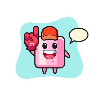 Мультфильм иллюстрации зефира с перчаткой для поклонников номер 1, милый стиль дизайна для футболки, наклейки, элемента логотипа