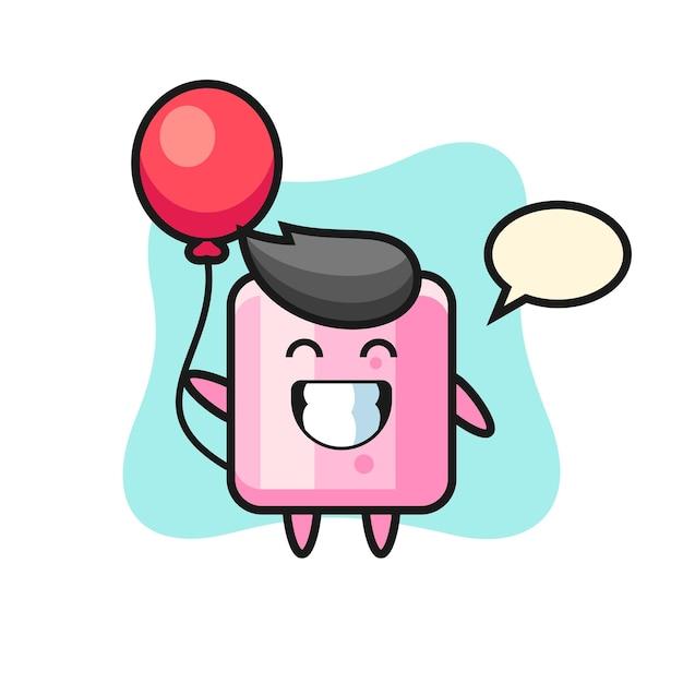 Иллюстрация талисмана зефира играет на воздушном шаре, милый стиль дизайна для футболки, наклейки, элемента логотипа