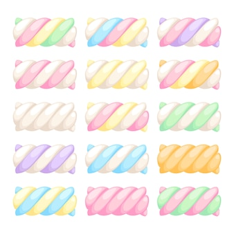 Marshmallow twists set vector illustration. sweet chewy candies.