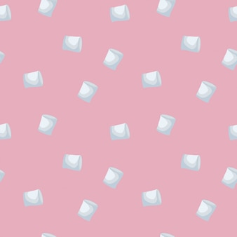 Marshmallows seamless pattern isolated on pink background.