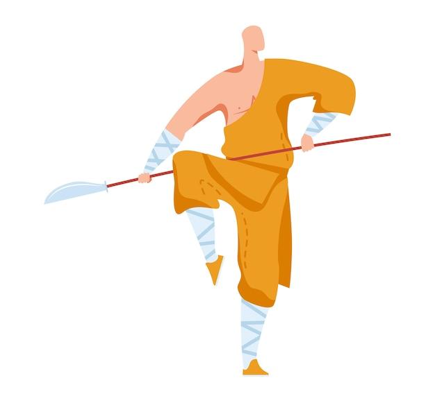 格闘技、攻撃ポーズ、伝統的な日本の戦闘機、オリエンタルスポーツ、スタイル漫画イラスト、白で隔離。黄色いきもんを着て、鋭い剣を棒に乗せて1回の戦闘を練習します。