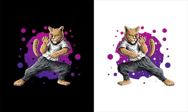 Иллюстрация шаржа кота боевого искусства