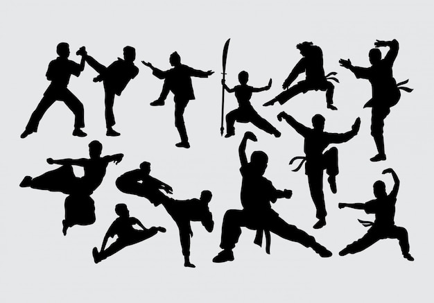 Martial art fighting silhouette